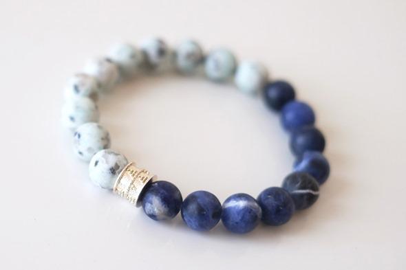 armband voor mannen, herenarmband met lapis lazuli en agaat kralen