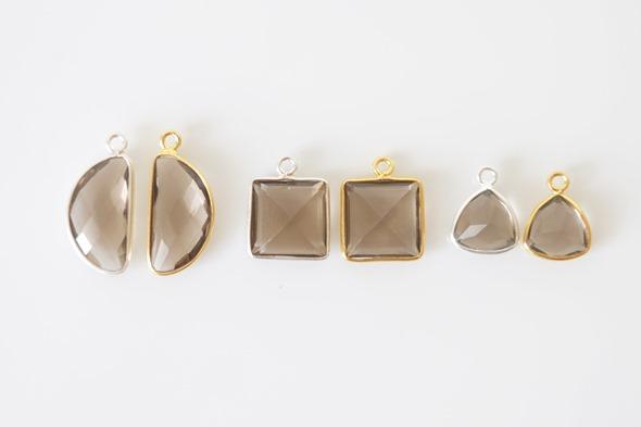 Bezel gemstones bedels en linkjes met rookkwarts edelsteen om juwelen te maken