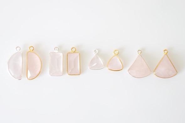 Bezel gemstones bedels en linkjes met rozenkwarts edelsteen om juwelen te maken