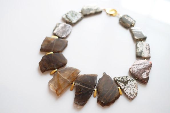 halssnoer met edelstenen, hematoïde kwarts, jasper en obsidiaan-2