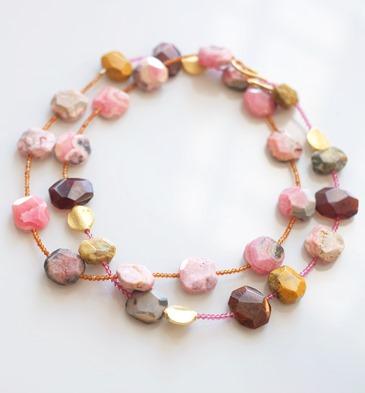 halssnoer met edelstenen, rhodocrosite en gele opaal - zahia juwelen en sieraden-2