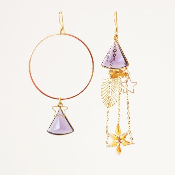 gouden oorbellen met amethist en sterren, zahia juwelen