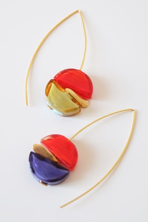 oorbellen met Murano glaskralen sommerso