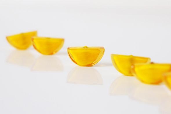 sommerso kralen venetiaals glas, geel