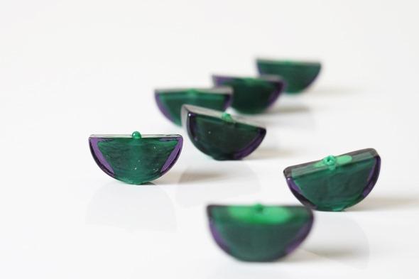 sommerso kralen venetiaals glas, groen paars