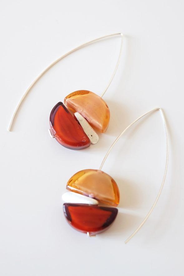 zilveren oorbellen met Murano glaskralen sommerso (1)