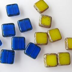 glas in lood vierkant donkerblauw koel geel