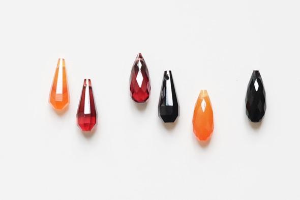 briolettes carneool, granaat, zwarte onyx
