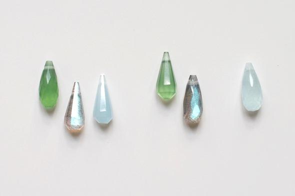 serpentine, labradoriet, aquamarijn briolettes om zelf juwelen te maken, zahia exclusive collectie