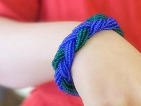 Vintage snoeren rocailles murano glas blauw en groen armband_Zahia